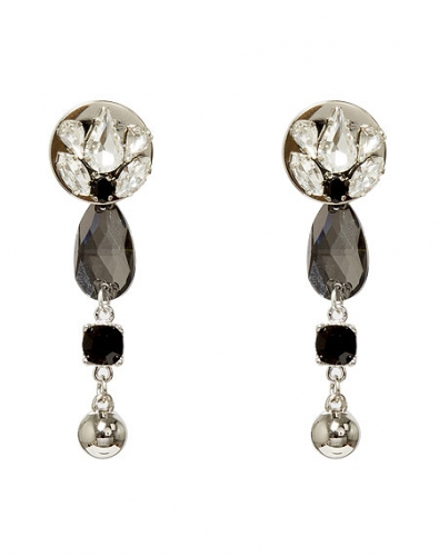 Water Drop Black Crystal Earring