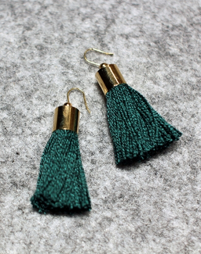 Simple Tassel Earring_Green