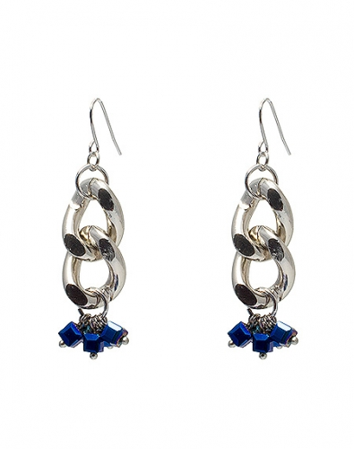 Blue Beads Bold Chain Earring