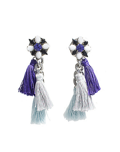 crystal button multi tassel earring