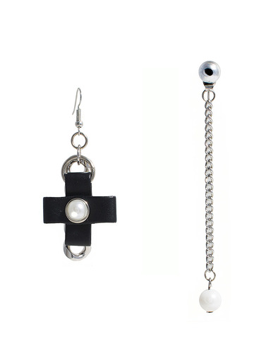 Leather cross unbalanced earring
