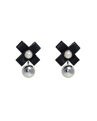 Leather Cross Ball earring