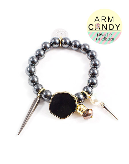 ARM CANDY_hematite stud bracelet_black