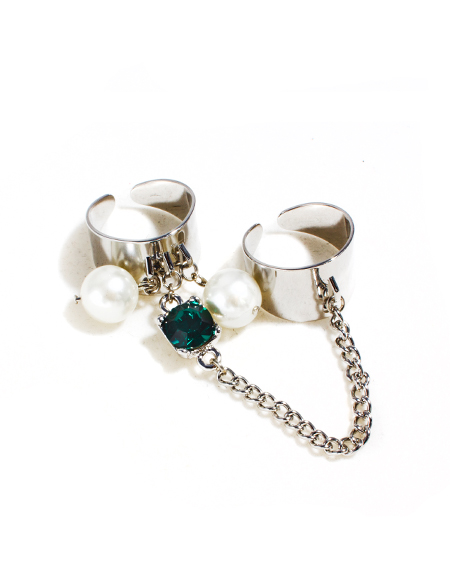 crystal pearl double chain ring_silver