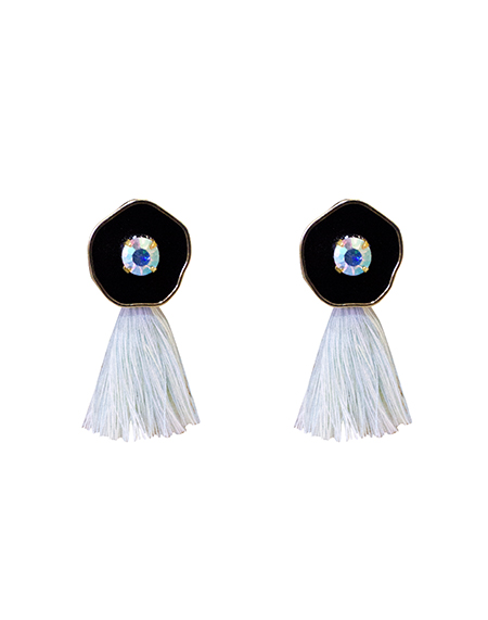 opal crystal mint tassel earring