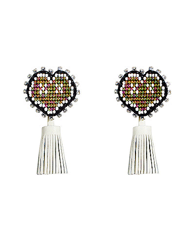XOXO Heart Leather Tassel earring_WT